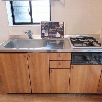 キッチンのシンクが大きい!収納も満足ですね。