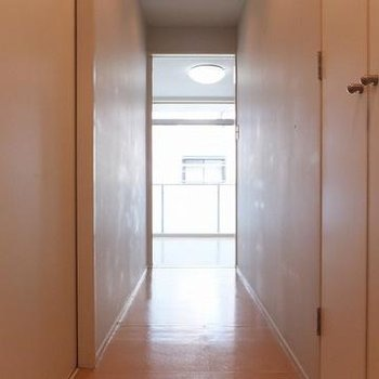 玄関を入ったところ。右の扉を開けると洗濯機置場です。※写真は別部屋です