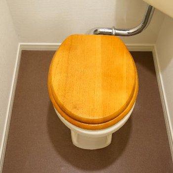 トイレはおなじみ木製便座で座り心地も◎
