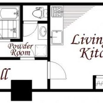シンプルな間取り。玄関から居室が見えにくく◎