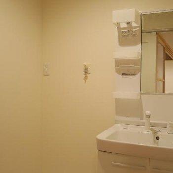 収納もたっぷりの独立洗面台です。