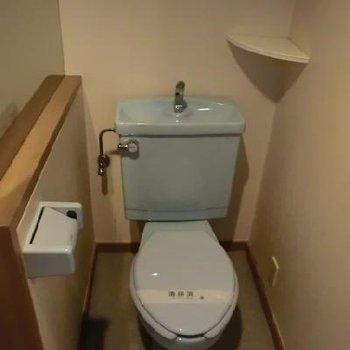 珍しい青色のトイレです。