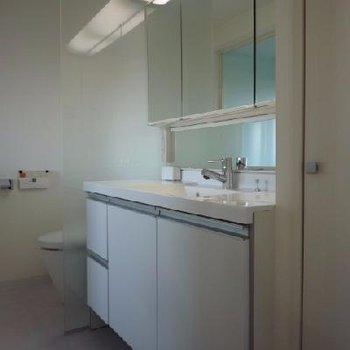 大きな洗面台、鏡でビッグ!