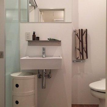 洗面台には棚があって便利◎ ※タオルなどの美品は付いてきません