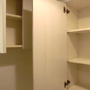 トイレ上の収納。なんでもかんでも入ります!※写真は別室です