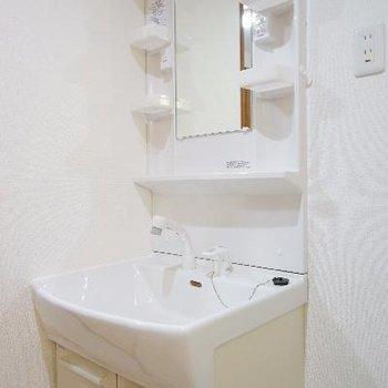 洗面台も棚がついて高機能です!