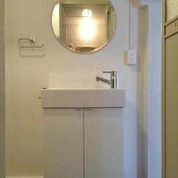 洗面台のデザインがかわいい。