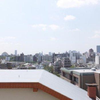 高台にあるので気持ちのいい眺望です。新宿のビル街が見えます。