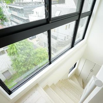 階段も一面窓!