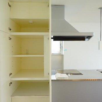 キッチン横の収納も大きい!コンセントも付いてます。