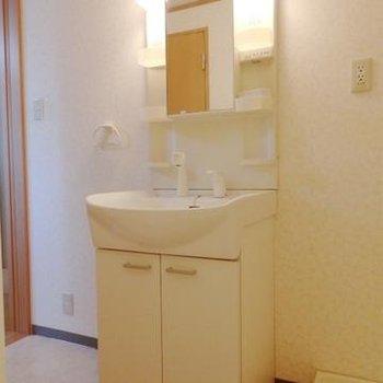 シンプルな洗面台。※写真は302号室です。