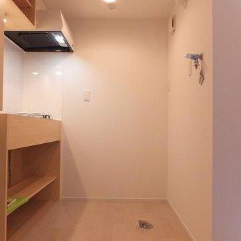 キッチンの後ろに洗濯機置き場と冷蔵庫置き場があります。※写真は別部屋