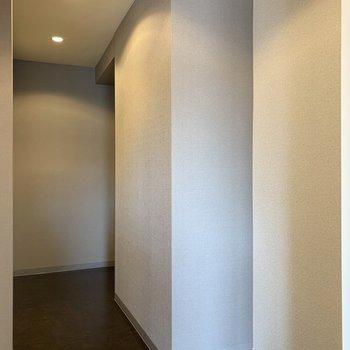 浴室向かいの奥のスペースと洗面化粧台向かいの手前のスペース、収納等で活かしたい。