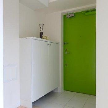 玄関扉もグリーン