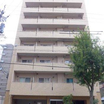 10階建のマンション。1階はお店です。