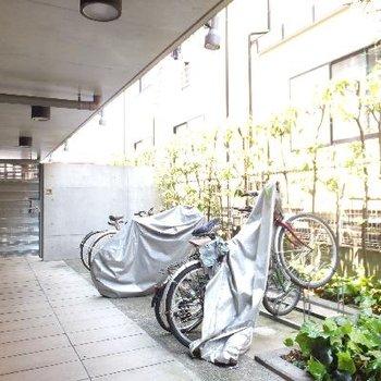 自転車は1台まで止められます。