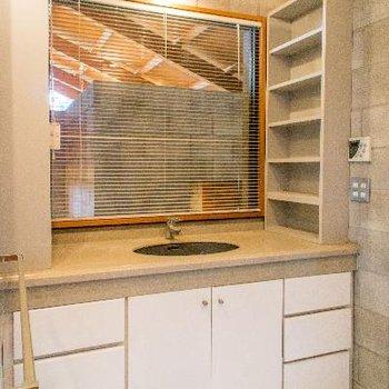 洗面台もゆったりサイズ※鏡は向かって左の壁にあります。