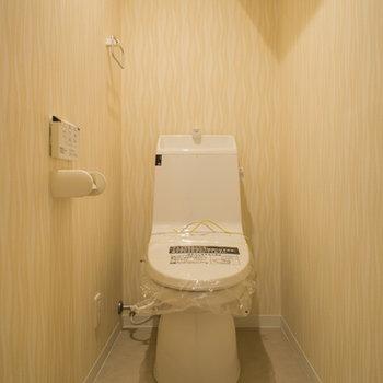トイレの上には収納棚付き※写真は203号室