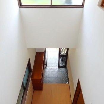 2階に上がります。と窓が多くてとにかく明るい。