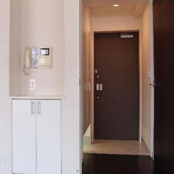 玄関。インターフォンはTVモニター付き。