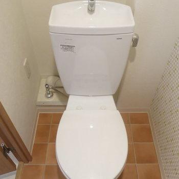 トイレはシンプルに!壁紙かわいいね!