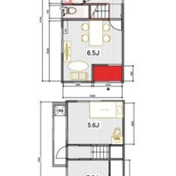 戸建!上が1階の間取り図です。