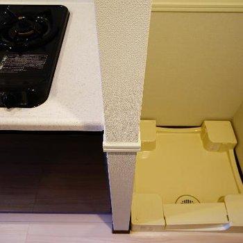 キッチン横に洗濯機を。