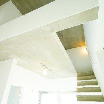 吹き抜けで天井が高いです。