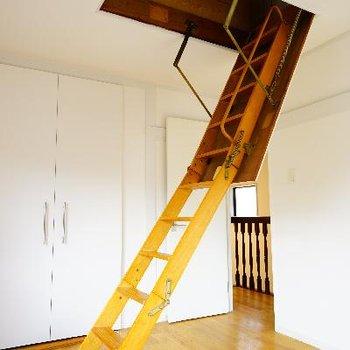 屋根裏に続くはしご。普段は収納できます!