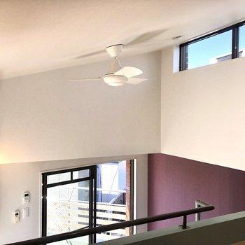 天窓からも光が差し込みます。ファンが空気を循環させてくれます。