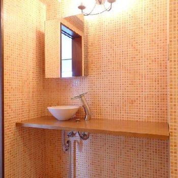 浴室には造作の洗面台もあったり