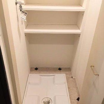 ドア付きの洗濯機置場
