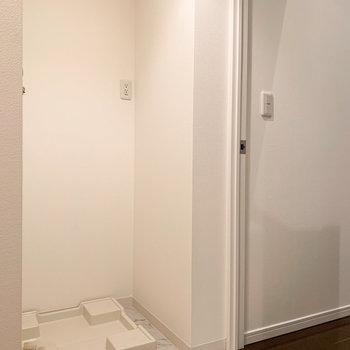 【1階】入ってすぐ右手には洗濯機置場が。