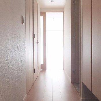 玄関から。廊下にまで光がくる。