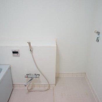 シャワー横に洗濯機を。