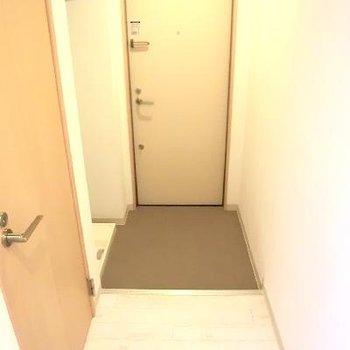 玄関。右側は洗濯機置き場