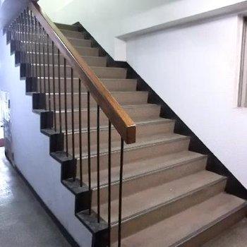 幅広階段。ここを上がってスグです。