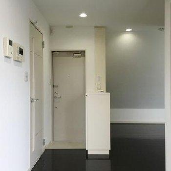 玄関前はこんな感じ。左のドアがお風呂へ続いています。