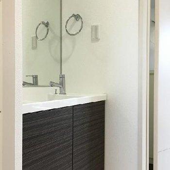 洗面台が一番シックかも。外観と同じ雰囲気。