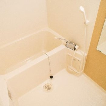 浴室にはシャンプーなどを置ける棚があります。
