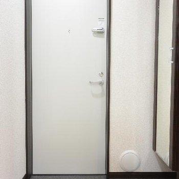 玄関。姿見がありがたい