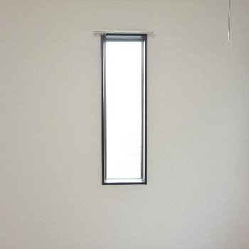 小窓付き。短いカーテンレールが愛おしい