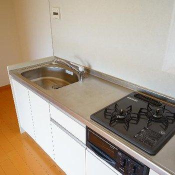 キッチンは2口ガスにグリル付き!