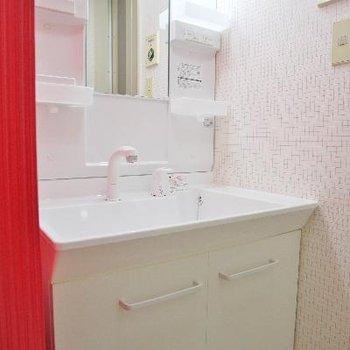 洗面台は新品。奥はタイルだね。