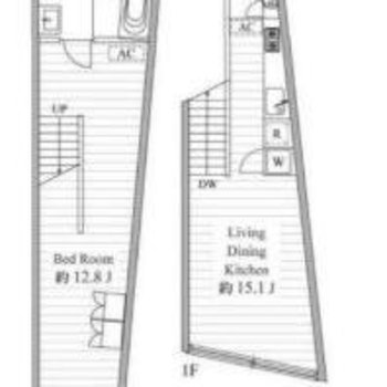 1階とB1階のメゾネットタイプです