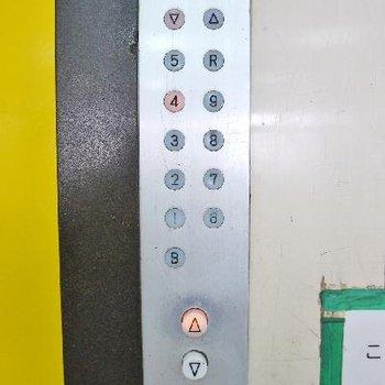 エレベーターボタンも古い。中側は新しいですよ!