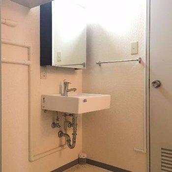 洗濯機置場、洗面台前が脱衣スペースにも!奥がトイレです。