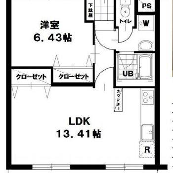 1LDKのお部屋ですね