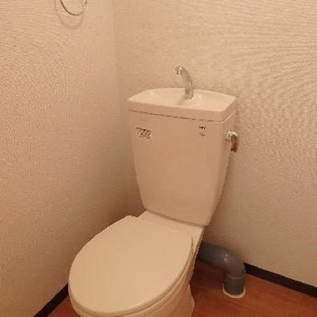 トイレは珍しいうち開き扉!