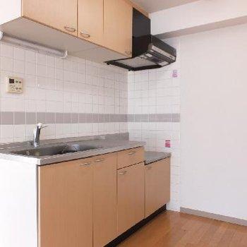 キッチンは大きめ。ガスコンロを設置できます。*お部屋は別部屋です